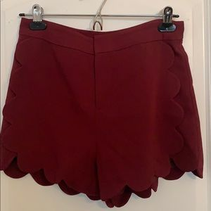 Burgundy Scalloped High Waisted Shorts